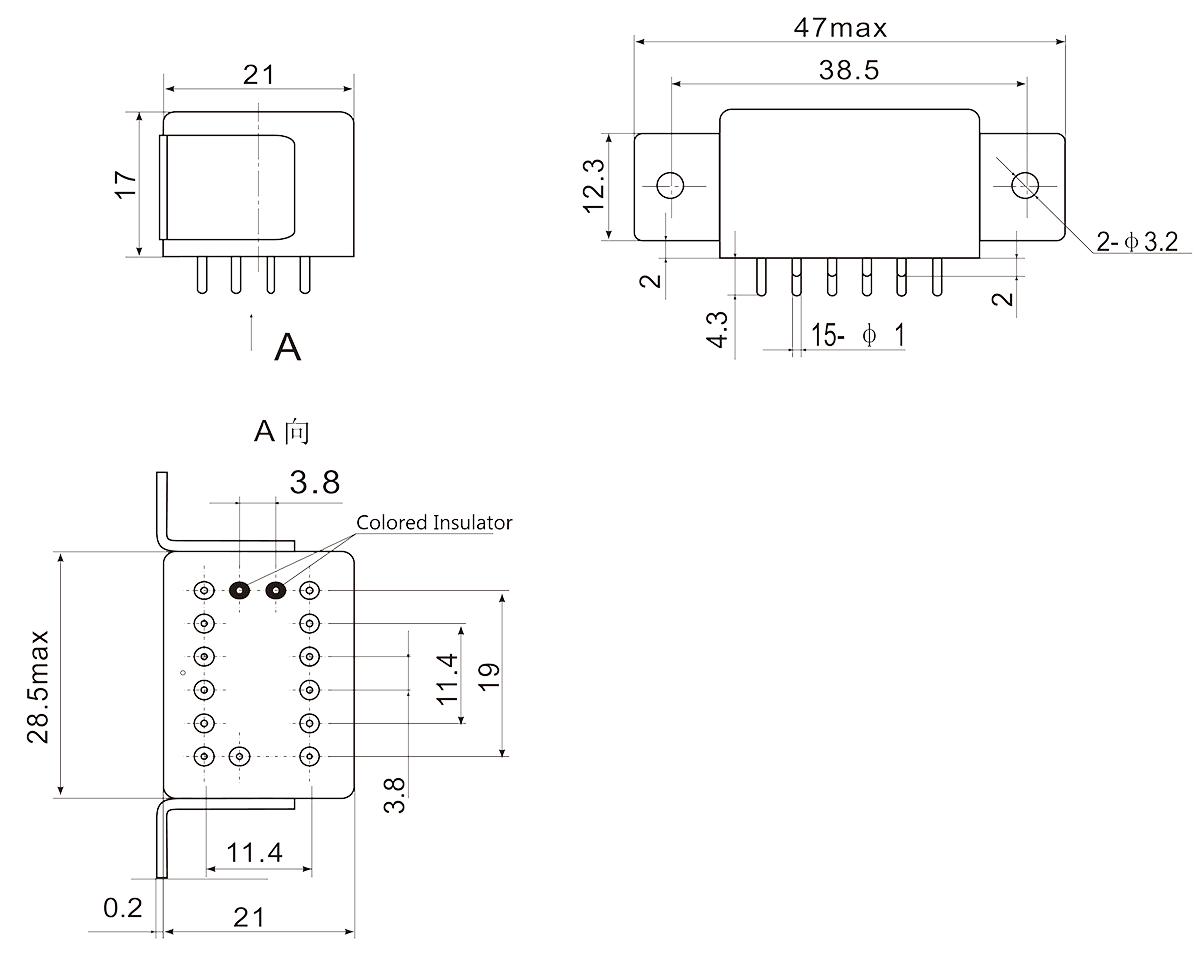 2JB2 2 Dimensions - 2JB2-2 Hermetic Magnetic Latching Relays