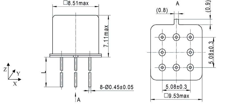 2JT1 921 Outline Dimensions - 2JT1-921 TO-5 Relay