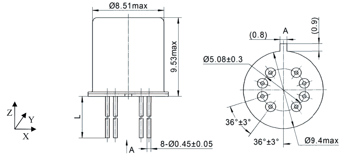 2JT1 930 Outline Dimensions - 2JT1-930 TO-5 Relay