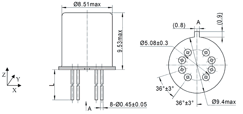 2JT1 932 Outline Dimensions - 2JT1-932 TO-5 Relay