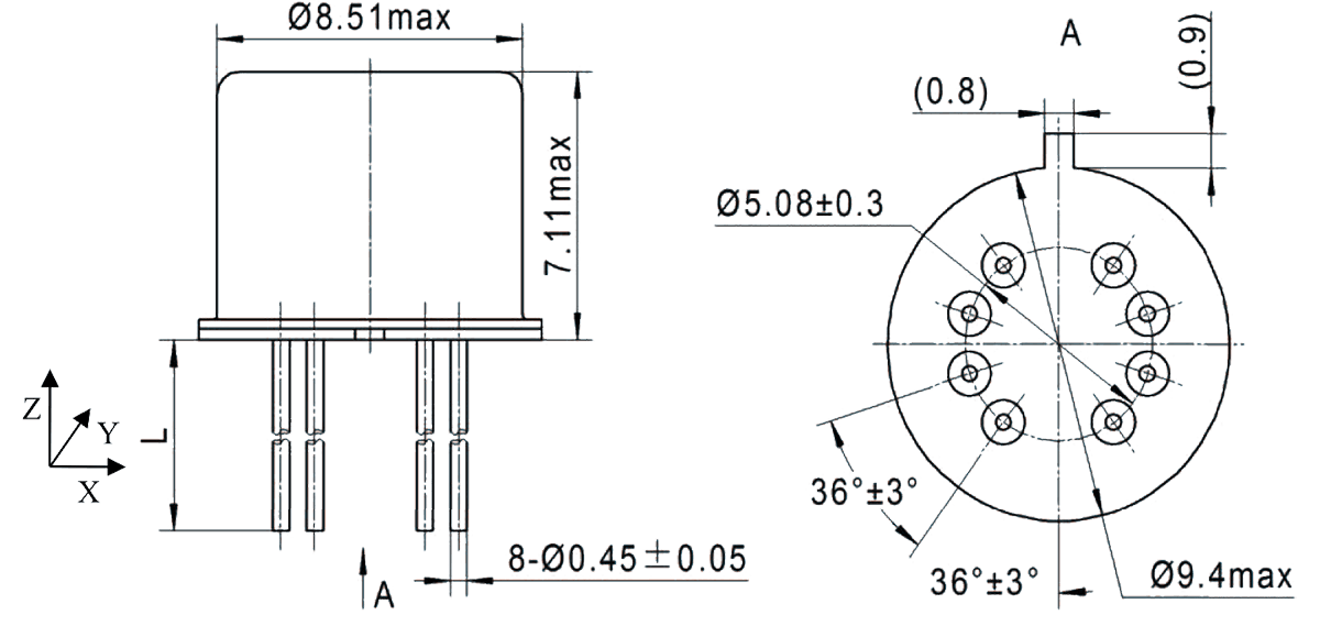 2JT2 910 Outline Dimensions - 2JT2-910 TO-5 Relay