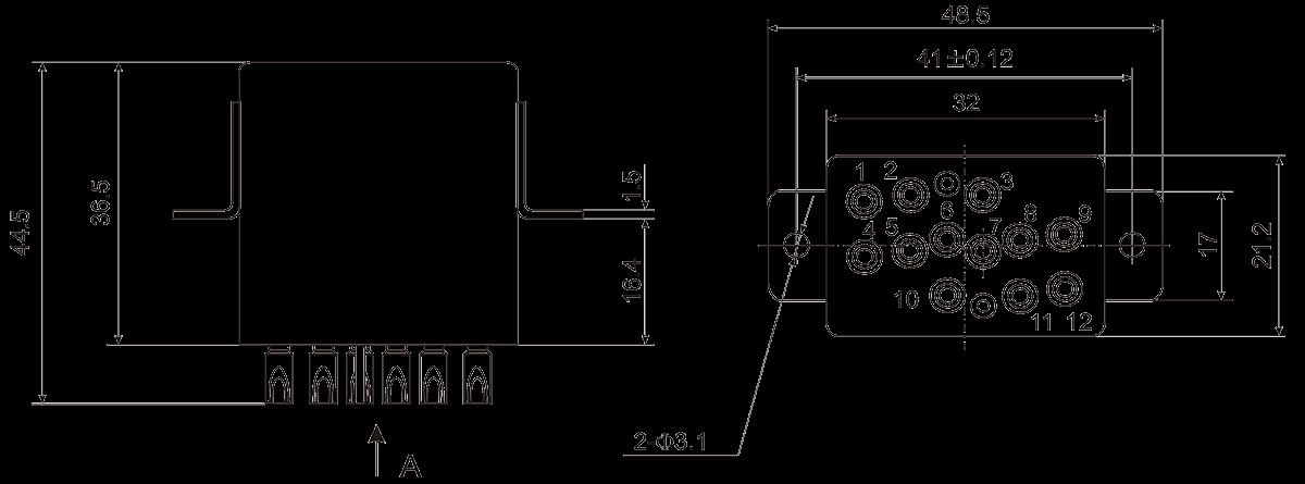 4JG 4A Dimensions - 4JG-4A Small General-purpose Relay