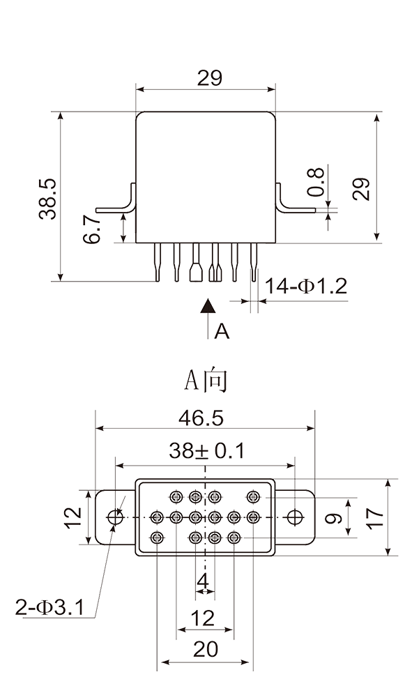 4JGXM 3 Dimensions Mounting Style C 2 - 4JGXM-3 Small General-Purpose Relay