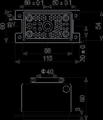 G103 socket Dimension - G103 Rectangular Connector