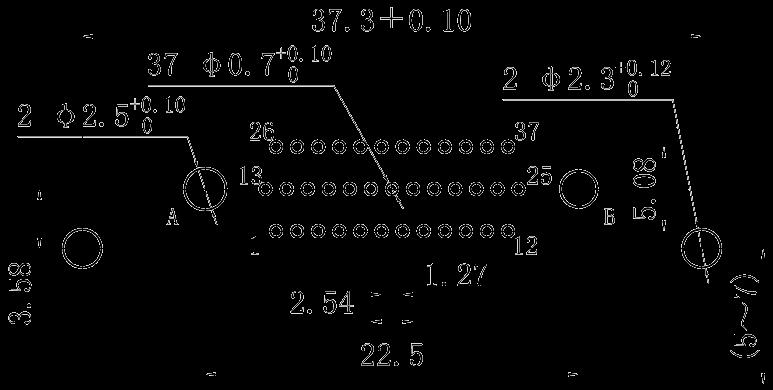 J30J39P02KPW01W1000M right angle PCB hole size