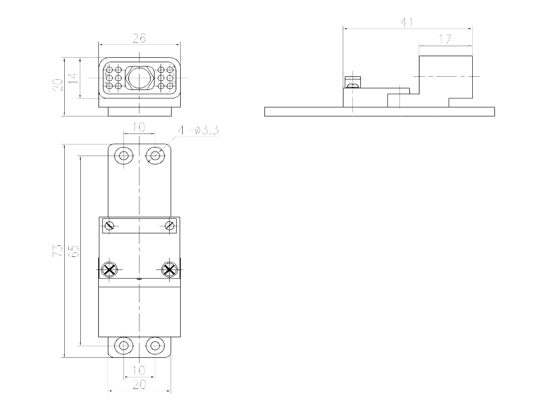 JF10 12ZK Receptacle drawing - JF10 Series Rectangular Connector
