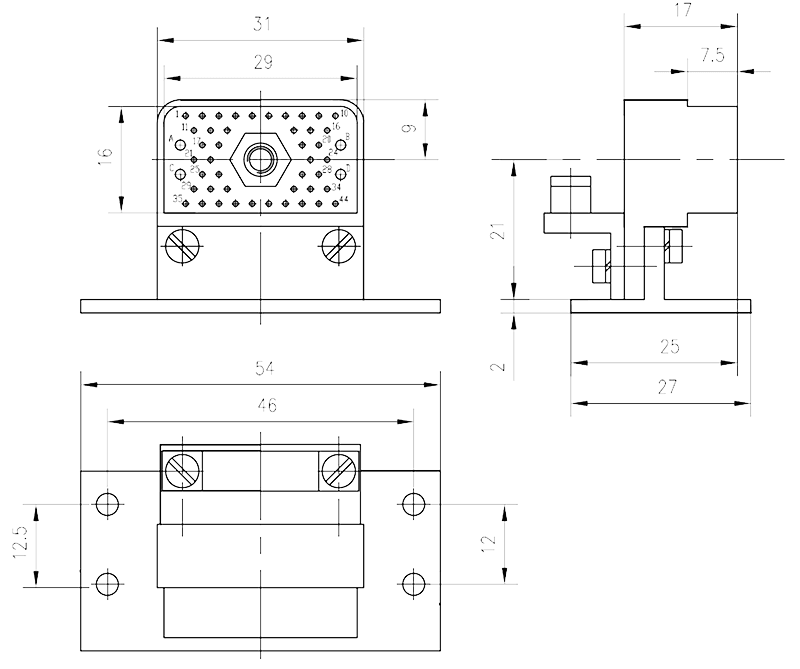 JF10 48ZK Receptacle drawing - JF10 Series Rectangular Connector