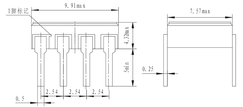 JGW 3M 1JG0.8 1 Outline mounting size dip - JGW-3M (1JG0.8-1) Optical-MOS Solid State Relay