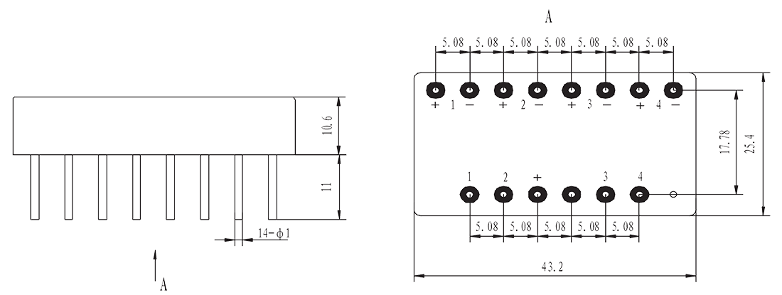 Mechanical drawings 2 - 4JG7-1B DC Type Solid State Relay