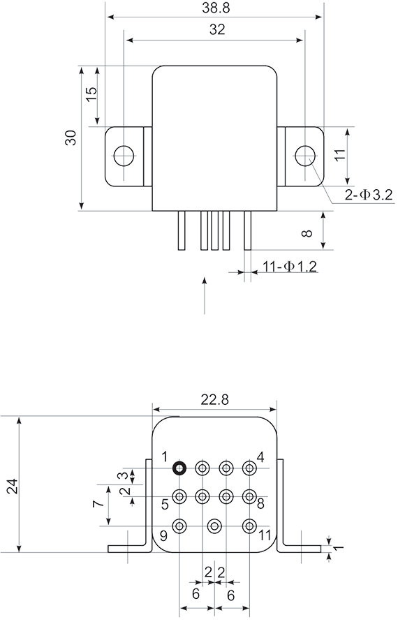 Mechanical drawings Installation method B3 - 1JS-7A Hybrid Time Delay Relays