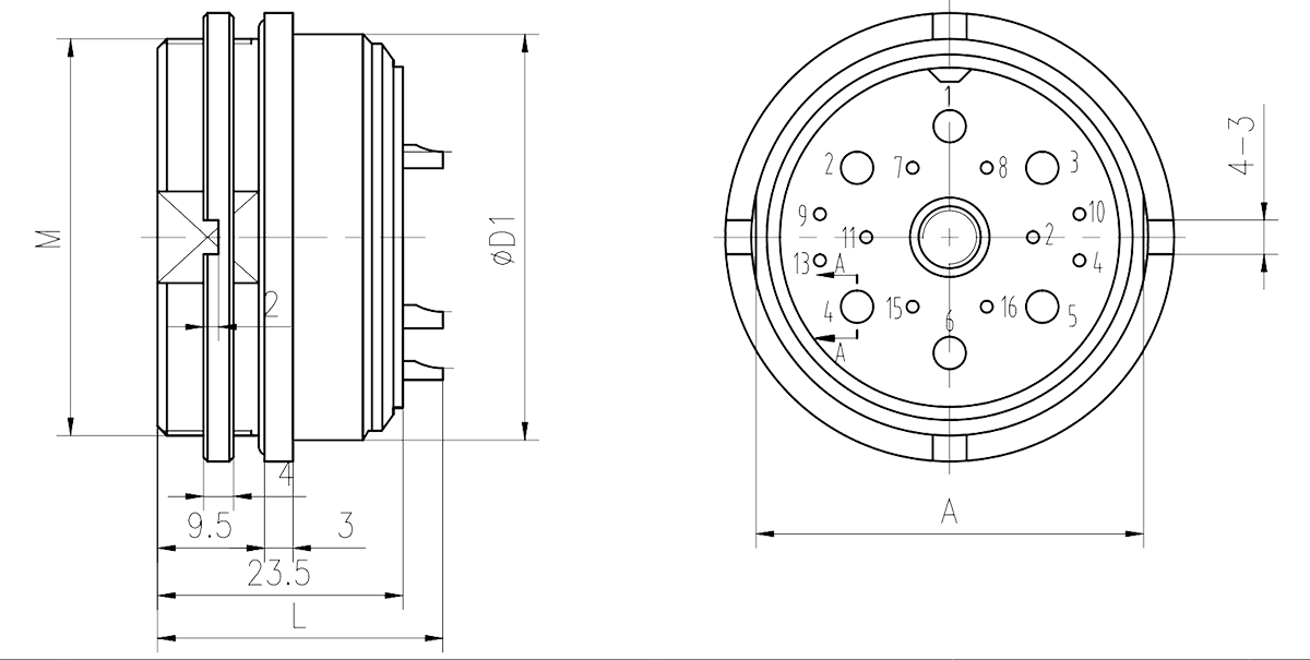 Y16 Drawings Nut mounting receptacle - Y16 Series Circular Connector