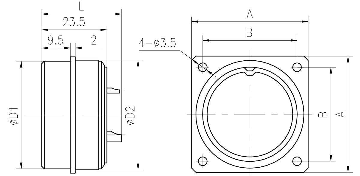 Y16 Drawings Square Flange Receptacle - Y16 Series Circular Connector