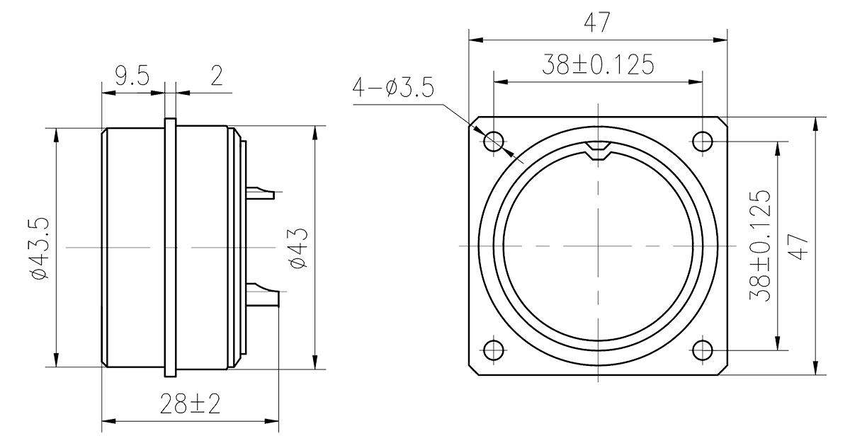 Y16 Drawings Y16E 2416I Square Flange Glass Sealing Receptacle - Y16 Series Circular Connector