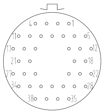 Y16 contact arrangement 2438 - Y16 Series Circular Connector