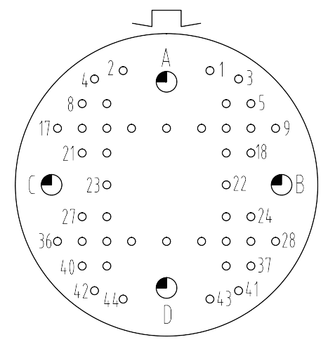 Y16 contact arrangement 3048 - Y16 Series Circular Connector