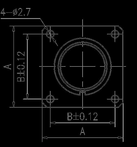Y3 Drawings Rectangular flange receptacle - Y3 Series Circular Connector