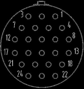 Y3 contact arrangement 24pin - Y3 Series Circular Connector
