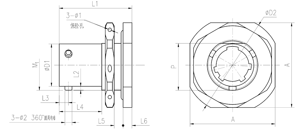 YQ2 drawings Nut Mounting Receptacle - YQ2 Series Circular Connector