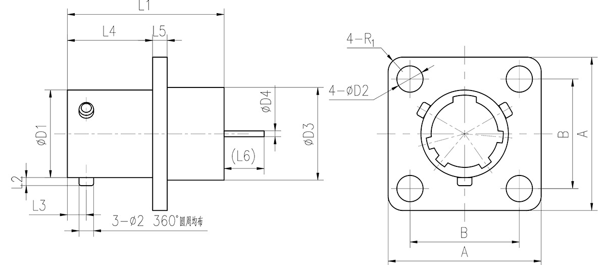 YQ2 drawings PCB Mounting Receptacle