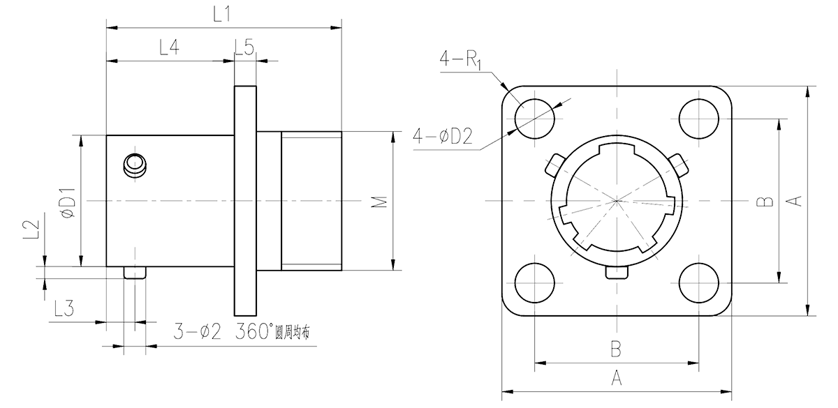 YQ2 drawings Square Flange Receptacle - YQ2 Series Circular Connector