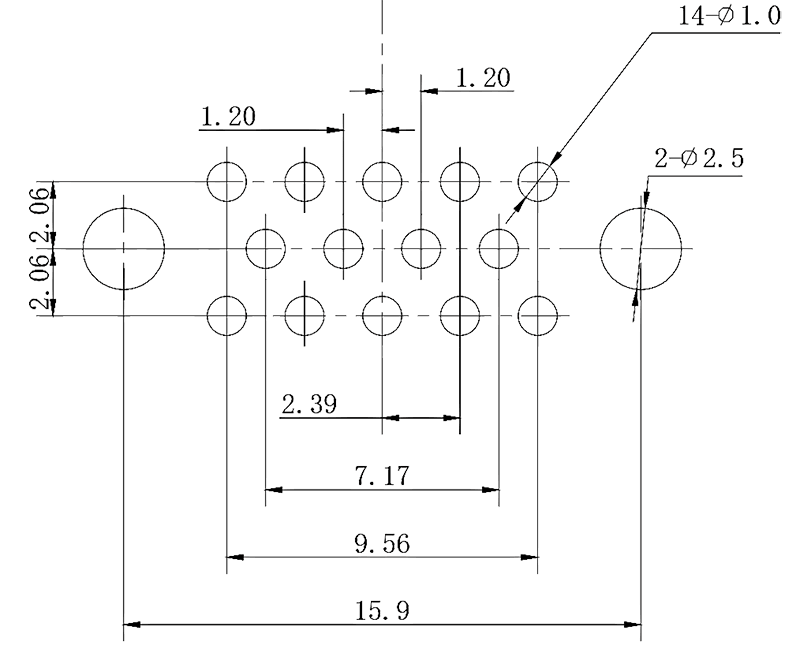 j43 PCB mounting drawing J43 14TK J43 14ZKN A - J43 Series Rectangular Connector