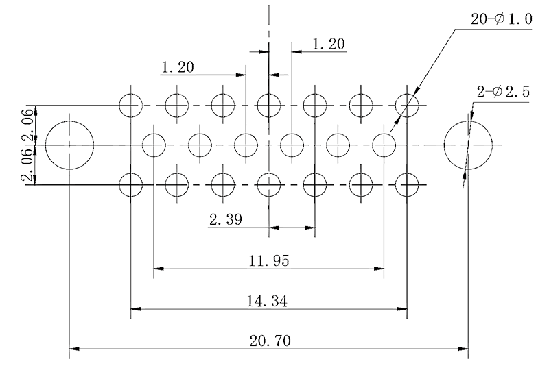 j43 PCB mounting drawing J43 20TJ - J43 Series Rectangular Connector