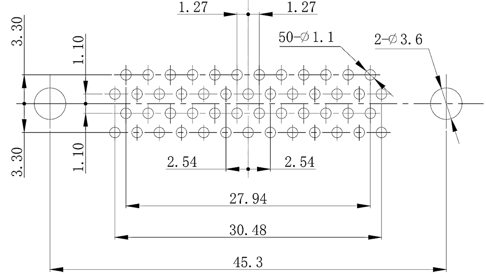 j43 PCB mounting drawing J43 50ZK - J43 Series Rectangular Connector