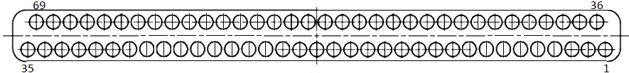 j63a Contact arrangements 69 pins - J63A Series Rectangular Connector