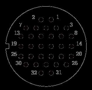 y2 Contact arrangement 32pins - Y2 Series Circular Connector