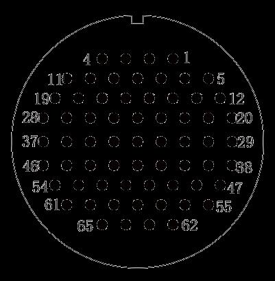 y2 Contact arrangement 65pins - Y2 Series Circular Connector